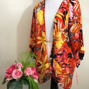 GB Gianni Bini Tropical Graden Party Beach Kimono